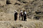 Three Isrealite Woman Talk While on Path in Desert
