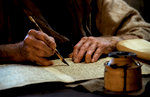 Scribe Writing on a Scroll in a Workshop