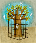 Tree in Cage With Doves