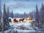 Winter Memories, Scene With Church, Sleigh, Snow