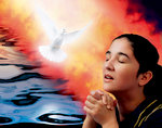 Woman Prays in Presence of Fire and Dove of God