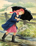 Girl Walking in Rain