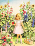 Little Girl Picking Flowers In Garden